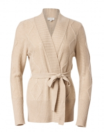 Beige Cable Knit Cashmere Cardigan