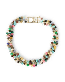 Multicolored Agate Beaded Triple Strand Necklace