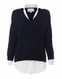 Midnight Navy Sweater with White Underlayer