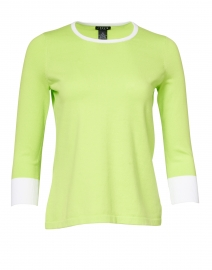 Kiwi Green Stretch Cotton Button Detail Top
