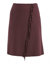 Burgundy Wool Front Fringe Skirt