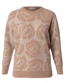Beige Lurex Floral Print Sweater