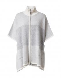 Grey Tonal Jacquard Zip Cashmere Poncho