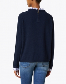 Cortland Park - Navy Ruffled Cashmere Sweater