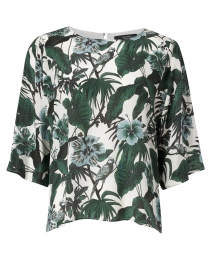 Avori White and Green Palm Print Silk Top