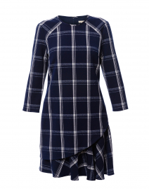 Aldora Navy and White Plaid Crepe Dress