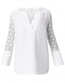 White Floral Jacquard Linen Top