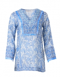 Marine Blue Floral Block Print Tunic