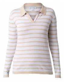 Beige and White Striped Pima Cotton Polo Sweater