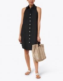 Finley - Swing Black Silky Poplin Shirt Dress