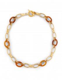 Collier Escale Gold and Brown Resin Link Necklace