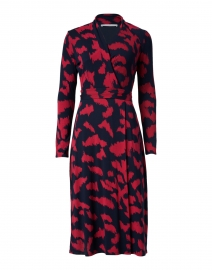 Ettay Red and Navy Print Stretch Viscose Dress
