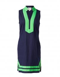 Navy Stretch Linen Classic Tunic Dress