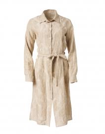 Beige Embroidered Linen Shirt Dress