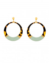 Tortoise and Seafoam Snakeskin Hoop Earrings