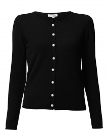 Black Cashmere Pearl Cardigan