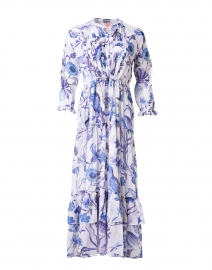 Brenda White and Blue Printed Cotton Voile Dress
