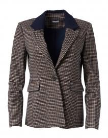 Dark Brown Check Stretch Jersey Blazer