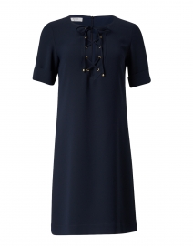 Navy Tie Front Shift Dress