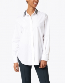 Piazza Sempione - White Stretch Cotton Shirt with Beaded Collar