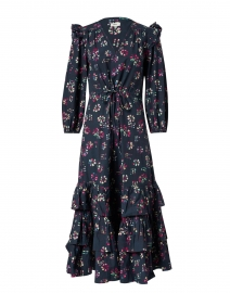 Leila Multicolored Black Floral Cotton Dress