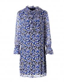 Blue and Black Multi Printed Silk Dress