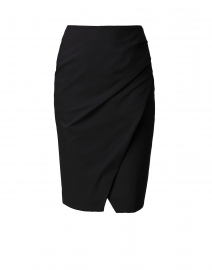 Black Faux Wrap Skirt