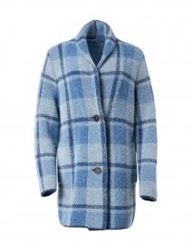 Blue Plaid Wool Boucle Coat