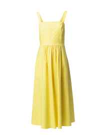 Yellow Pleated Stretch Cotton Dress