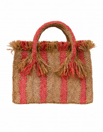 Georges Brown and Coral Striped Raffia Small Tote