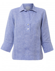 Aileen Indigo Button Back Linen Shirt