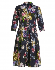 Audrey Navy Rembrandt Pastel Floral Stretch Cotton Dress
