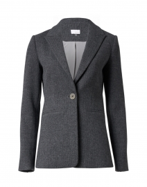 Grey Herringbone Cotton Stretch Blazer