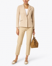 Amina Rubinacci - Flauto Beige Sand Pin Stripe Knit Jacket