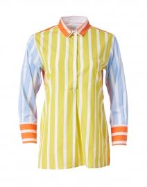 Nattie Lime Striped Coloblock Poplin Henley Shirt