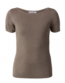 Fennec Metallic Stone Beige Knit Top
