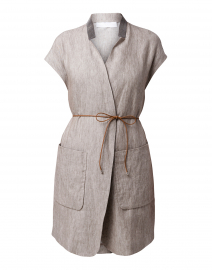 Grey Linen Vest with Brilliant Detail