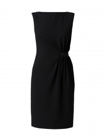 Black Ruched Crepe Dress