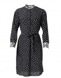 Black and White Dot Print Silk Dress