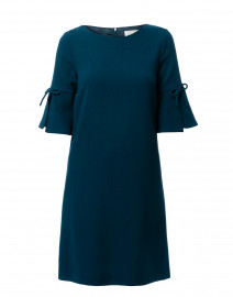 Irinna Teal Wool Crepe Tunic Dress