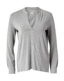 Grey Stretch Viscose Henley Top