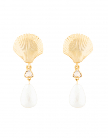 Gold Scallop Shell and Pearl Drop Earrings