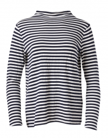 White and Navy Striped Soft Touch Top