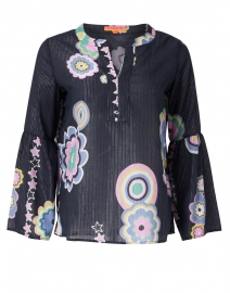 Tilda Navy Floral Printed Lurex Cotton Blouse