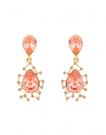 Pink Crystal and Gold Drop Earring