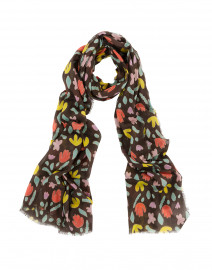 Dark Brown Floral Printed Cotton Scarf