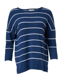 Navy and White Stripe Cashmere Sweater