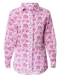 Voile Pink and White Flower Print Cotton Shirt