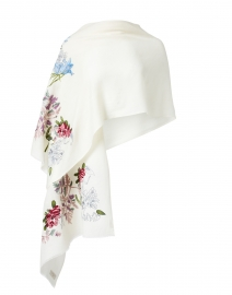 Ivory and Multi Floral Embroidered Wool Scarf