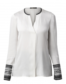 Jona Ivory Embroidered Stretch Silk Blouse